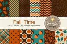 Fall Autumn Digital Papers by JennyL Designs on @creativemarket