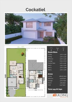 Cockatiel Two Storey, House Plans, Home Designs, Building Prices & Builders Contemporary House Plans, Modern House Plans, House Floor Plans, Double Storey House Plans, House Plans Australia, 2 Storey House Design, Modern Residential Architecture, Townhouse Designs, Building A Container Home