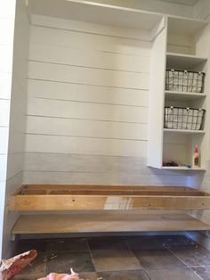 How to build a floating bench for a mudroom. This space was once a hall closet! How to build a floating bench for a mudroom. This space was once a hall closet! Closet Bench, Front Hall Closet, Entry Closet, Closet Built Ins, Closet Bedroom, Bench Mudroom, Entry Coat Rack Bench, Mudroom Laundry Room, Closet To Mudroom