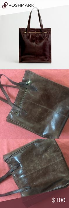 J.Crew Brown Leather Tote Brown leather tote, perfect for the office--especially great for lawyers, professors, or business people! Leather has broken in and lost some of it's initial stiffness. Signs of age are visible, but these can easily be polished out. There are three pockets inside, one with a zip and two that are perfect for a phone or any other gadgets you may need to carry. 100% leather with cloth liner. J. Crew Bags Totes