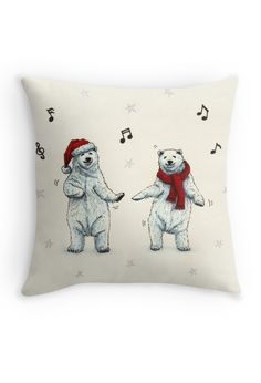 """The polar bears wish you a Merry Christmas"" Throw Pillow by Savousepate on Redbubble #throwpillow #homedecor #christmas #xmas #funny #cute #music #dancing #drawing"
