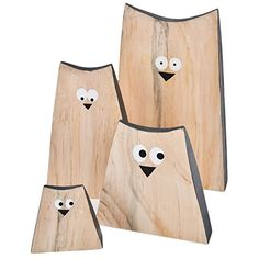 Eulen Deko Figuren 4er Set Holz natur grau