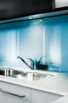 Lustrolite Blue Atoll high gloss wall panels for bathrooms & kitchens. Acrylic Wall Panels, Decorative Wall Panels, Back Painted Glass, Room Decor, Wall Decor, Glass Kitchen, High Gloss, Sink, Colour Match