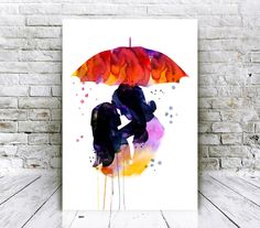Love Kiss Couple Watercolor Poster - Giclee Art Prints - Home Decor - Affordable Art Gifts - Living Room Decor by WatercolorMood on Etsy https://www.etsy.com/listing/251854881/love-kiss-couple-watercolor-poster