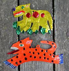 Set of 2 Jaguar Mexican hand painted Tin ornaments - Mayan Aztec Jaguars spots