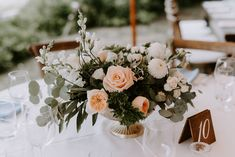 Centerpiece with a gold footed vase Centerpiece with 'Patience' garden roses, white dahlias, white S Gold Vase Centerpieces, Gold Vases, Wedding Bouquets, Wedding Flowers, Scented Geranium, White Dahlias, Fine Gardening, Spray Roses, Climbing Roses