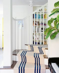Staircase Runner, Stair Runners, Interior Design Studio, Luxury Interior Design, Best Interior, Wood Handrail, White Shiplap Wall, Herringbone Wood Floor, Traditional Staircase