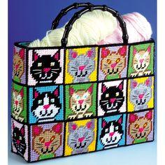 Cat Tote Bag Plastic Kit12inX13inX9in Count