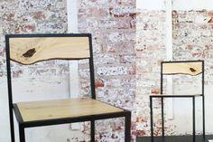 wood & steel, straight lines against rustique wall Wood Steel, Cafe Chairs, Straight Lines, News Design, Scandinavian Design, Decor Styles, Furniture Design, Designers, Interiors