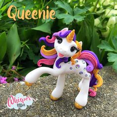 Whisper Fillies Queenie crystal unicorn horse pony figurine. Handmade from Polymer Clay  Visit my etsy page whisperfillies.etsy.com for more little Filly cuteness. Facebook.com/Whisperfillies