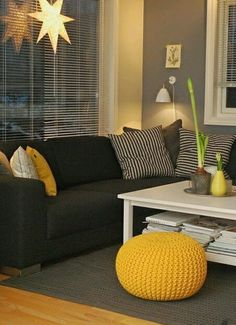Love The Gray Wall Color Goes Well With Black Couch Purple Accents Or Yellow
