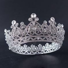 Women Full Round Vintage Crystal Rhinestone Bridal Headpiece Queen Princess Tiara Crown Prom Pageant Hair Accessories
