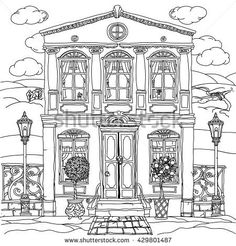 Contoured Black And White Illustration Of A House With Details For Adult Coloring Book Or Zen Art Therapy Anti Stress Drawing Hand Drawn Vectorvery
