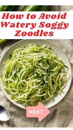 Healthy Noodle Recipes, Zucchini Pasta Recipes, How To Cook Zucchini, Zoodle Recipes, Spiralizer Recipes, Vegetarian Recipes Dinner, Healthy Eating Recipes, Zucchini Spirals Recipes, Healthy Cooking