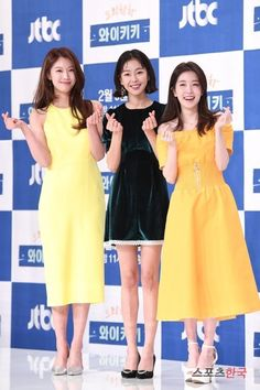 Lee Joo-woo, Go Won-hee and Jung In-sun were at the premiere of the new JTBC drama 'Laughter in Waikiki'. They're dressed in fresh dresses and looking lovely. Drama Film, Drama Movies, Asian Actors, Korean Actors, Spring Fashion, Girl Fashion, Jung In, Dramas, Korean Artist