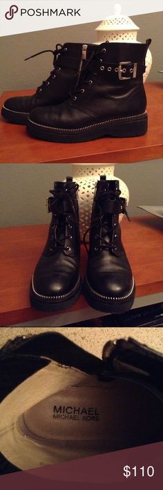 Michael Kors combat black boots Michael Kors...Beautiful and impacted combat boots, they are a necessary in your closet....!! Michael Kors Shoes Combat & Moto Boots