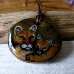 Cougar mom and baby cougar necklace  Fused glass by ArtoftheMoment, $55.00