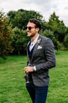 Groom's suit - A Fun Festival Inspired Elopement Shoot In Kent… Wedding Guest Suits, Wedding Men, Wedding Attire, Groom Attire, Groom And Groomsmen, Groom Style, Costume, Grey Suits, Tweed Suits