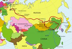 Route map of the Trans Siberian Railway; travel with monkeyshrine