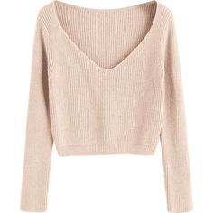 Pullover V Neck Cropped Sweater Apricot (118315 PYG) ❤ liked on Polyvore featuring tops and sweaters #pulloversweater