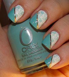 Minty Flowers Art Deco Konad Manicure
