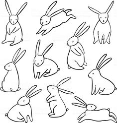 Simple Cartoon Bunny Isolated Stock Vector - Illustration of simple, collection: 89332352 Bunny Tattoos, Rabbit Tattoos, Rabbit Drawing, Rabbit Art, Hase Tattoos, Icons Web, Rabbit Icon, Bunny Sketches, Lapin Art