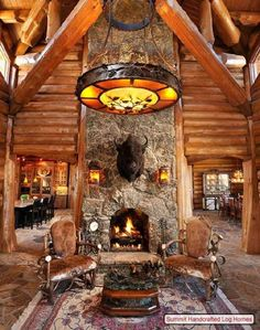 Log Home Interior Decorating | See More Monumental Stone Fireplace Designs At