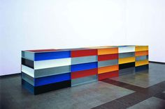 via manpodcast: Here are all five of Donald Judd's multicolored floor pieces. (A sixth floor piece, in 'blank' galvanized iron, is at the Ta...