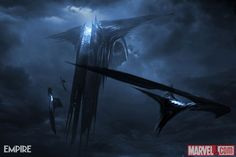 "Marvel's ""Thor: The Dark World"" concept art featuring the Dark Elves' ships  More on Marvel.com: http://marvel.com/news/story/21079/behold_13_new_images_from_marvels_thor_the_dark_world#ixzz2cneCjDfb"