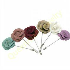 handmade fabric flower men lapel pin women's rose brooch