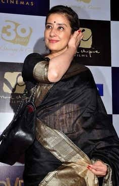 Manisha Koirala in Black Raw Silk Sari
