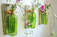 Colored Glass Bottle Trio Wall Decor each mounted on wood base for unique rustic decor for bedroom decor kitchen decor on Etsy, Colored Glass Bottles, Empty Glass Bottles, Recycled Glass Bottles, Glass Bottle Crafts, Old Bottles, Bottle Art, Diy Projects With Glass Bottles, Recycle Bottles, Beer Bottle