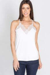 This tank is the absolute cutest! Not only are the edges at the top somewhat frayed but it also has lace all around the top and down the back. The perfect mix between sexy and casual, this will go with most anything! Silver Icing, Stylist Pick, Basic Tank Top, Stylists, Tank Tops, Lace, Sexy, Casual, Women