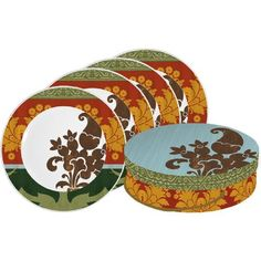 Paperproducts Design Melange Dessert Plate, Set of 4 by Paperproducts Design. $29.99. Made of high quality porcelain. Each plate features elegant floral patterns in warm hues. Set of 4 Floral Melange plates. 8-1/4-Inch round. Microwave and dishwasher safe. Paperproducts Design Dessert Plate Set features Floral Melange. Set of 4 porcelain mugs are packaged in coordinating round box that is perfect for gift giving or storage. Each plate measures 8.25 inches round.