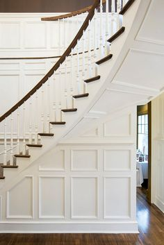 Curved Staircase - Design photos, ideas and inspiration. Amazing gallery of interior design and decorating ideas of Curved Staircase in bathrooms, entrances/foyers by elite interior designers. Staircase Molding, Stairs Trim, White Staircase, Curved Staircase, Staircase Design, Moulding, Staircase Ideas, Crown Moldings, Bannister Ideas