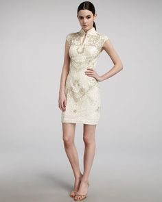 dc6d3cdc mandarin collar dress white - Google Search Designer Cocktail Dress, Sue  Wong, Wedding Preparation