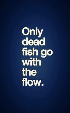 Only dead fish go with the flow..
