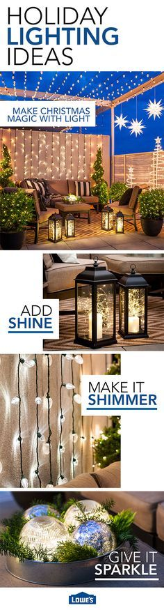Outdoor Christmas lights make holiday magic. Layer versatile string lights, LED candles, and lanterns on your patio, balcony, or deck for twinkling decoration at Christmas and throughout the year.