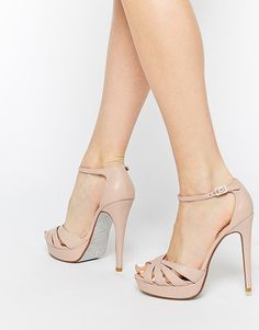 DUNE Miko blush leather platform sandals found on Nudevotion