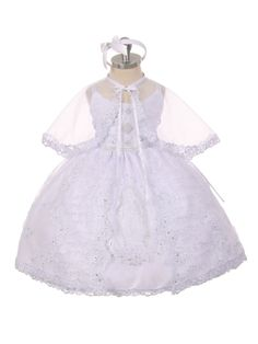 Girls Baptism-Christening Gown Style 414 - WHITE Organza Dress with Embroidered Virgin Mary Design  Elegant baptism dress with rhinestones detail on the bodice and Virgin Mary embroidered in front. Matching sheer organza cape and headband are included. Corset on the sides to adjust for size.  http://www.flowergirldressforless.com/mm5/merchant.mvc?Screen=PROD&Product_Code=RK_414&Store_Code=Flower-Girl&Category_Code=White