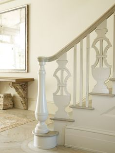 Urn detail on railing - Decorating and Design Tips from Louise Brooks Iron Stair Railing, Banisters, Railings, Porch Balusters, Stair Spindles, Iron Staircase, Shelter Island, Decoration Bedroom, Architectural Features