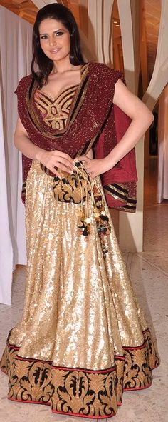 $200.74 Zarin Khan Golden and Red Wedding Lehenga Choli 26685