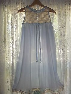 VINTAGE-SIREN-BABYDOLL-SHEER-BLUE-NYLON-LACE-NIGHTIE-NIGHTGOWN