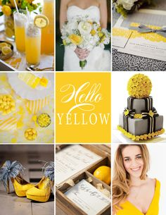 Yellow Wedding Inspiration #wedding #yellow #bouquet #invite #cake #shoes