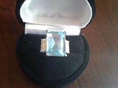 AQUAMARINE TOPAZ LCS DIAMOND ENGAGEMENT RING SZ 5 SZ 6 SZ 7 SZ 8 SZ 9  SZ 10 #EXCEPTIONALBUY #WithDiamonds
