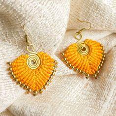 Handmade brass and waxed cotton earrings Crochet Earrings, Brass, Cotton, Handmade, Jewelry, Fashion, Moda, Hand Made, Jewlery