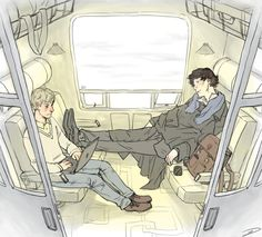 this wasn't going to be bromantic but then it was consultingbastard: could you draw John and Sherlock on a cross-country train trip? Sherlock Bbc, Sherlock Comic, Sherlock Fandom, Gotham, Cross Country Train Trip, Comic Collage, Otp, Pokemon Sprites, Vatican Cameos