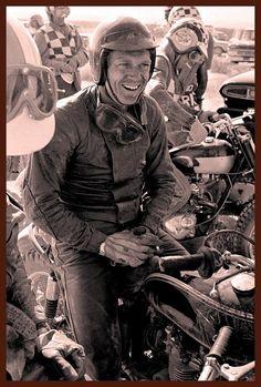 """Racing is life. Steve Mcqueen Motorcycle, Paul Newman Robert Redford, Steeve Mcqueen, Motorcycle Types, Garage Art, Vintage Motorcycles, Racing Motorcycles, Triumph Bonneville, Cafe Racer"