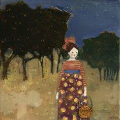 As night fell Ava gathered acorns by amanda blake art, via Flickr