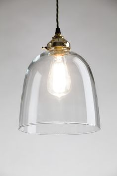 Holloways of Ludlow, Old School Electric, Bell Blown Glass Pendant | Remodelista